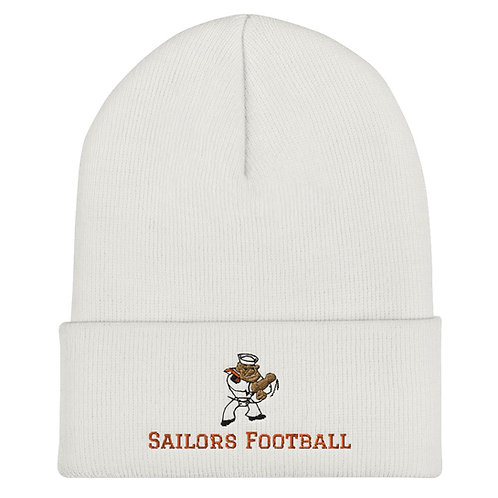 Wht Cuffed Beanie logo and Sailors Football