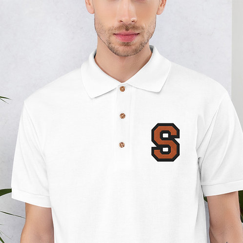 Embroidered Polo Shirt White with S Logo