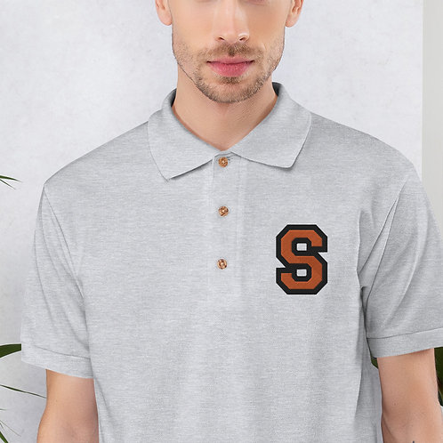 Embroidered Polo Shirt Grey with S Logo