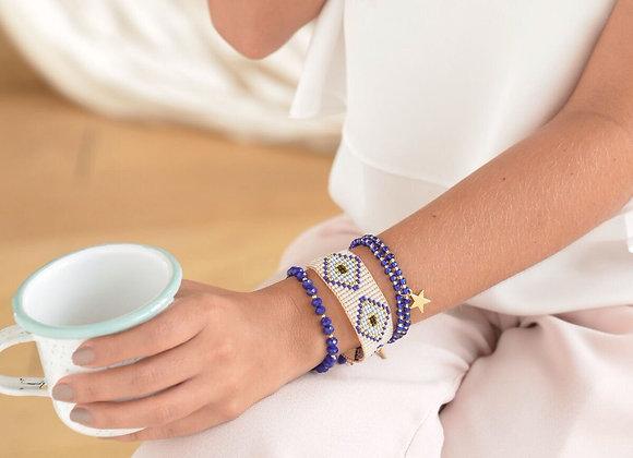 White & blue woven bracelet set 187-104