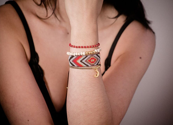 Red & brown woven Bracelet set 187-105