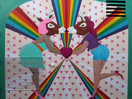 Queer Unicorn mural by Crystal Vielula