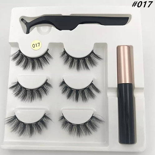 Magnetic Lashes x 3 Pairs 1 tweezer & Glue Style 17