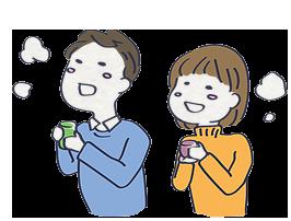 お茶を飲む男女