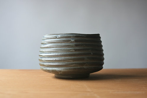 Faceted Bowl in Blue Green Satin / tea bowl
