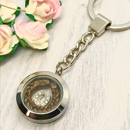 Keepsake Locket 25mm Key-ring with a Horse Hair Braid