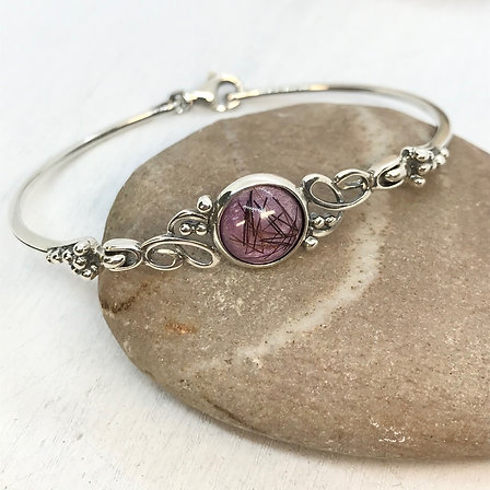 Sterling Silver Bangle with Resin Stone