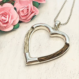 horse tail hair sterling silver heart pendant
