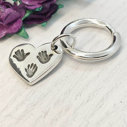 Sterling Silver Hand - Paw - Hoof Print Key-ring