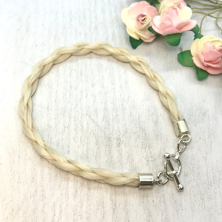 Sterling Silver Toggle Clasp Horse Hair Bracelet
