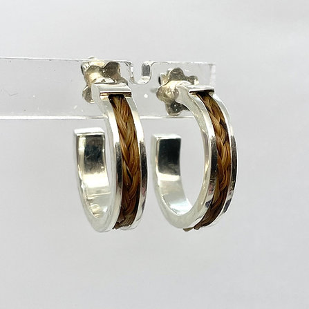 Sterling Silver Earrings with a Braid of Horse Hair