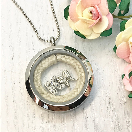 Keepsake Locket Pendant 30mm with a Horse Hair Braid