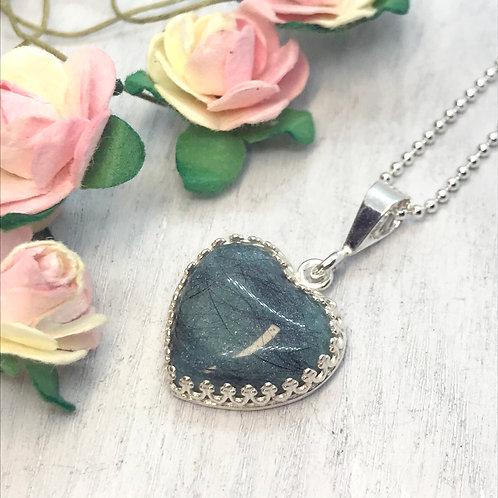 Sterling Silver & Resin Heart Pendant