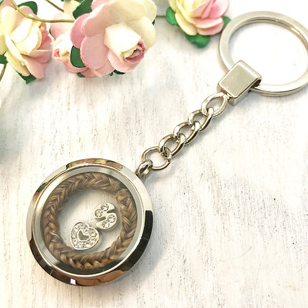Keepsake Locket 30mm Key-ring with a Horse Hair Braid