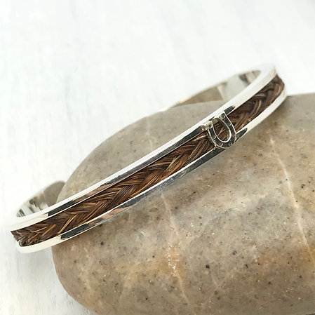 Sterling Silver Cuff Bangle with a Braid of Horse Hair