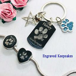 engraved keepsake keyring charm paw prin