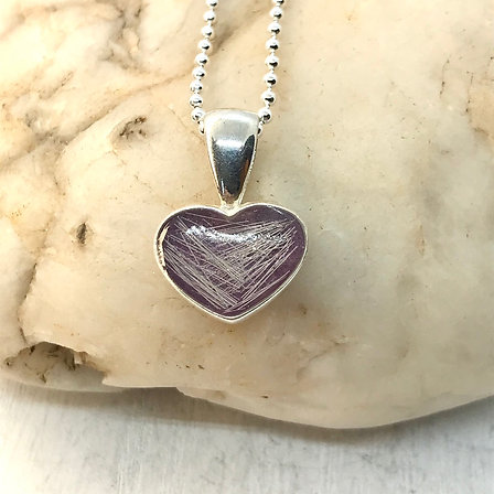Small Sterling Silver & Resin Heart Pendant