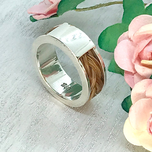 Wide Sterling Silver Ring containing your Horses Tail Hair
