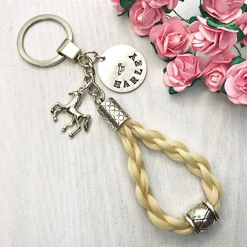 Braided Horse Hair Key-ring with Bead