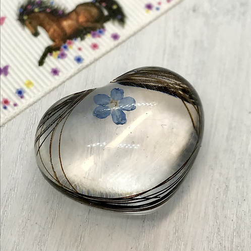 'Hold me close' resin heart containing fur, hair or ashes