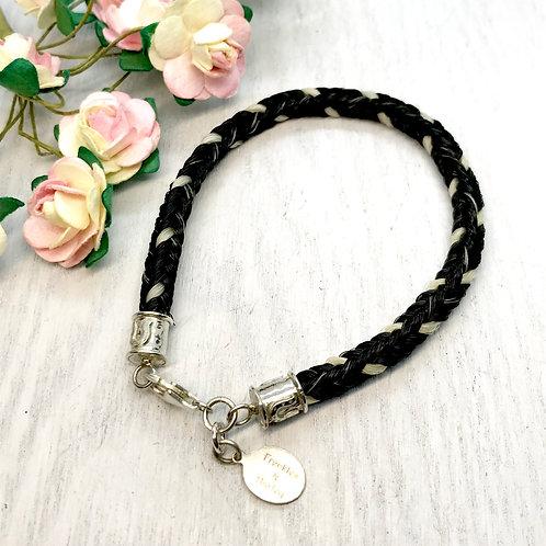 Horse Hair Bracelet with Horseshoe Design Endcaps