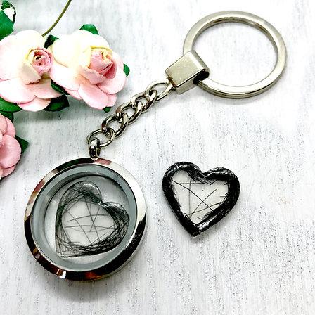 Keepsake Locket 30mm Key-ring with Resin Heart