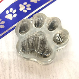 paw print resin paperweight dog cat fur