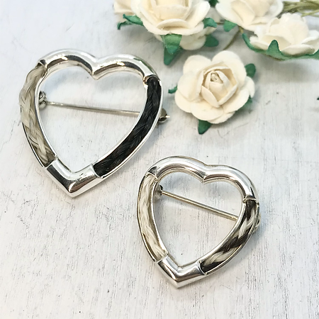 Heart Brooch in Sterling Silver with a Braid of Horse Hair