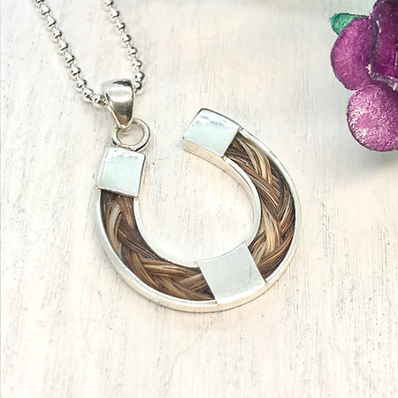 Sterling Silver Horseshoe & Horse hair Pendant