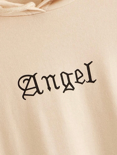 "Drop Shoulder ""Angel"" Graphic Drawstring Hoodie"