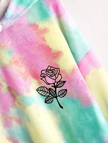 Floral Print Drop Shoulder Pocket Front Hoodie - Harlie Angels Rose