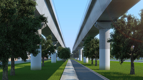 Preview of 3D architectural rendering for the elevated railway in Melbourne