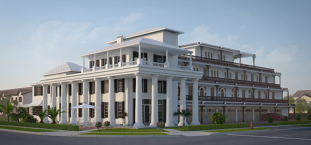Architectural 3D rendering of the hotel in Florida