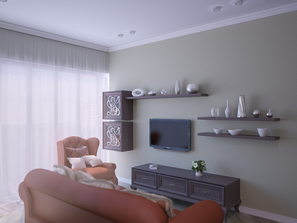 3D Renderings for the living room view n