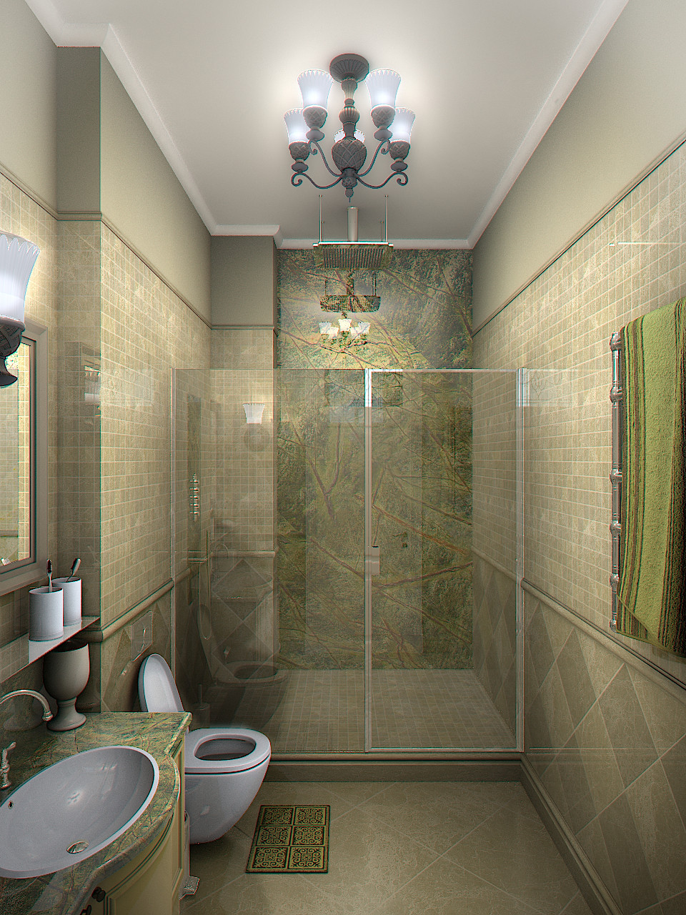 3d interior rendering for the bathroom