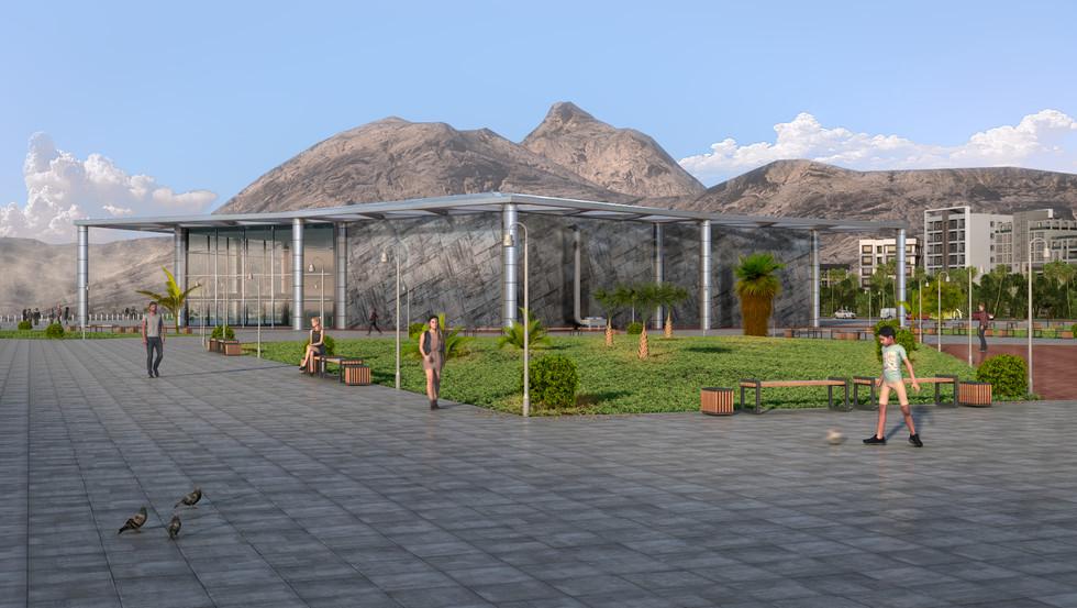 Public aquarium exterior 3D render no 3.