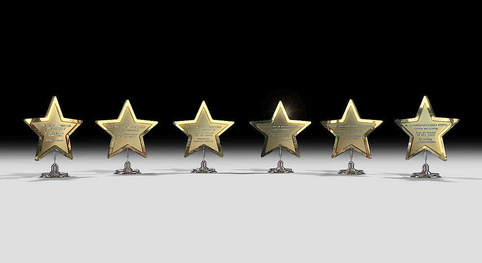 Get Your Star - 3D Renderings for award prizes gathered all together