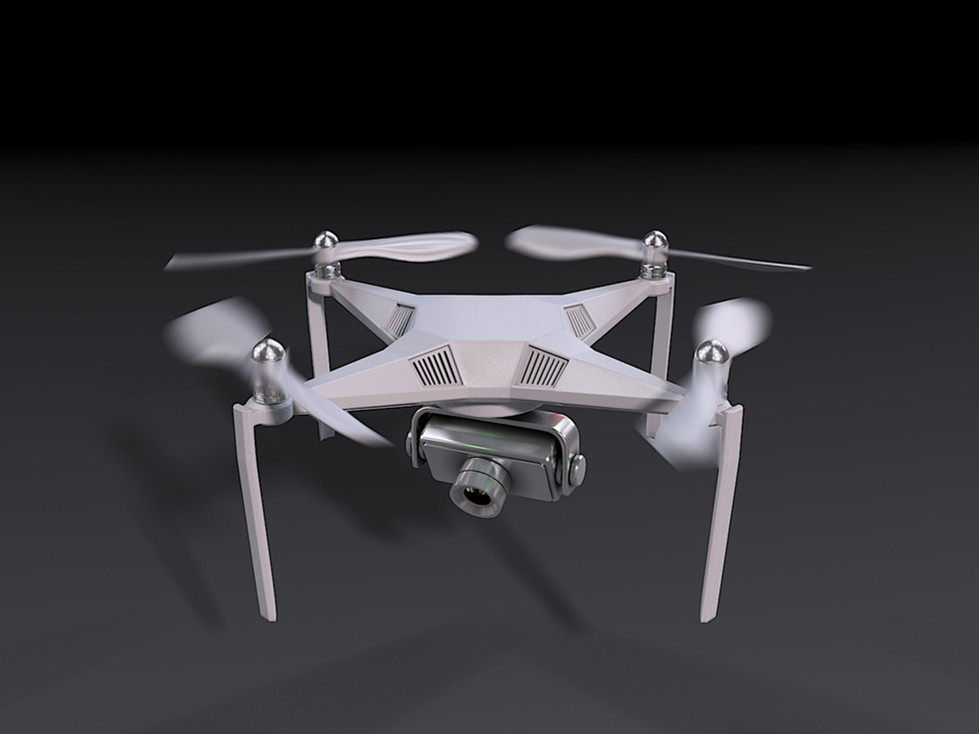 3D Product Render of UAV drone with the motion blur effect