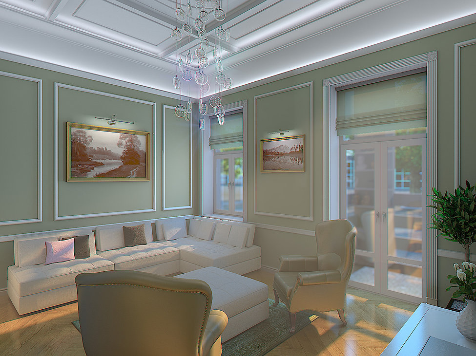3D Renderings for the living room in Batumi view no 3