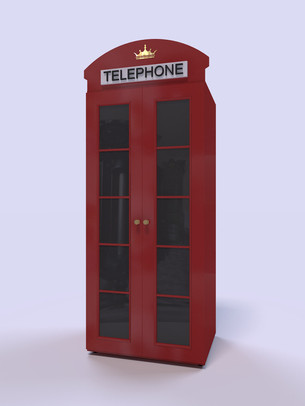 3D Rendering for the London phone styled children's cabinet