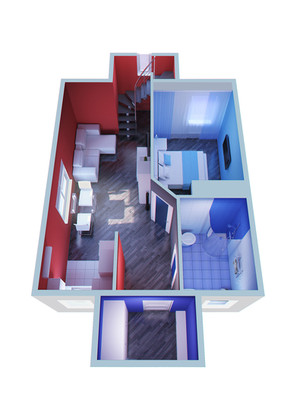 Town house 3D floor plan for the first floor