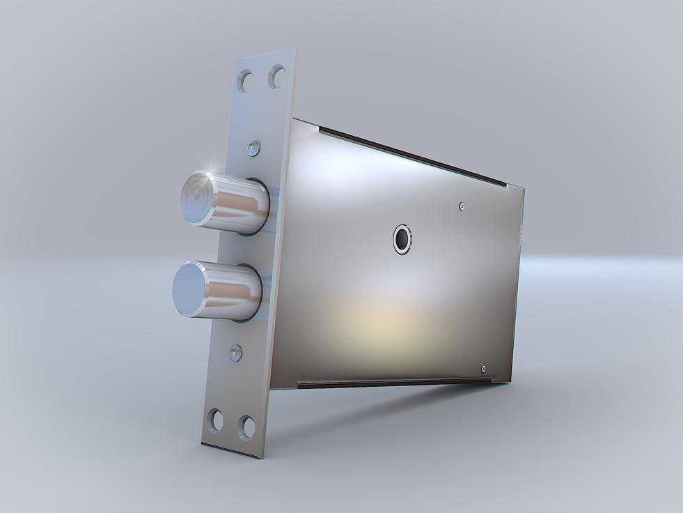 3D Product Rendering of the electromechanical lock with the dark background