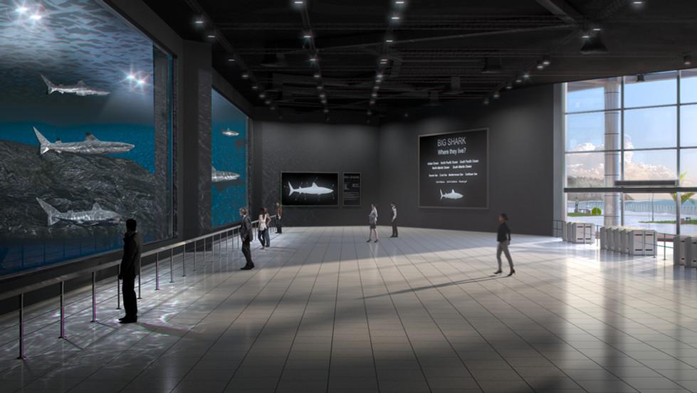 Public aquarium interior 3D render no 1.