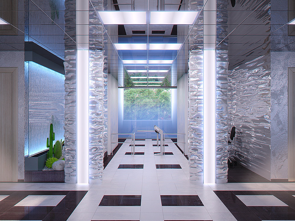 3d rendering for the bank lobby view no 1