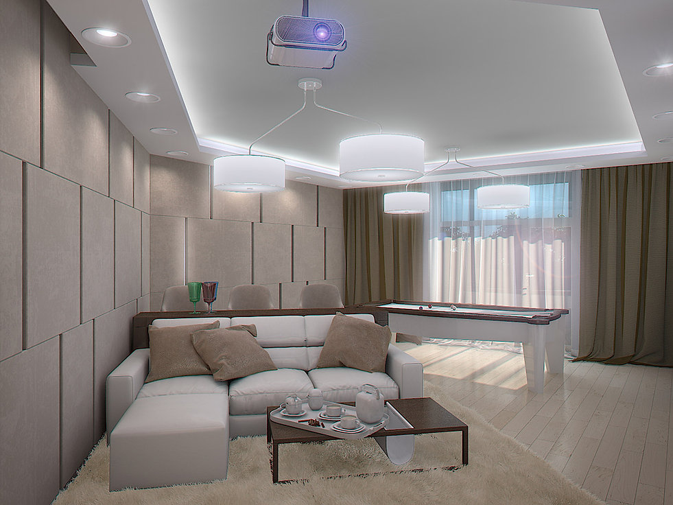 3d rendering for the billiard room view
