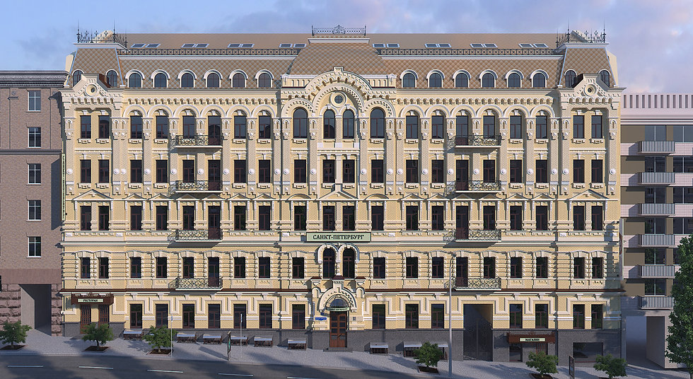 3D architectural rendering for the hotel in Kiev