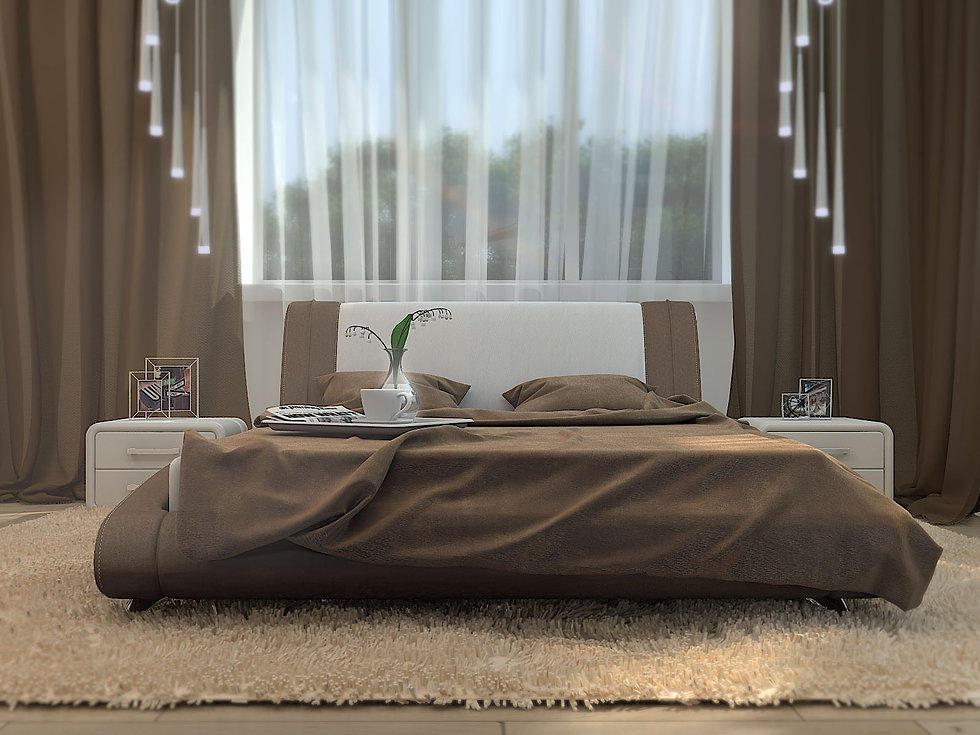 3D rendering for the bedroom view no 3