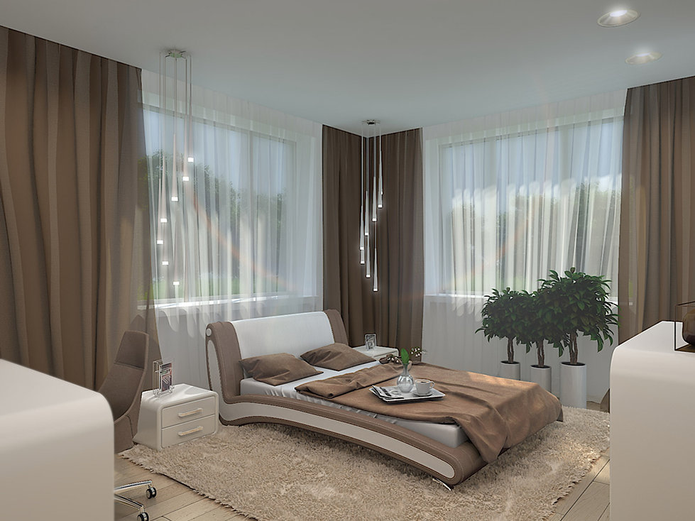 3D rendering for the bedroom view no 1