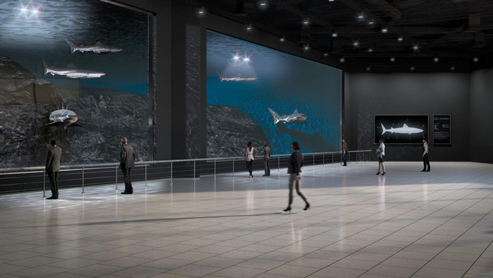 Public aquarium interior 3D render no 2.