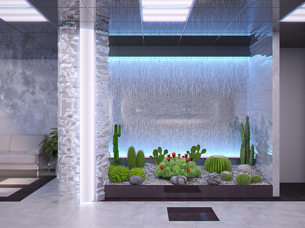 3d rendering for the bank lobby view no 2